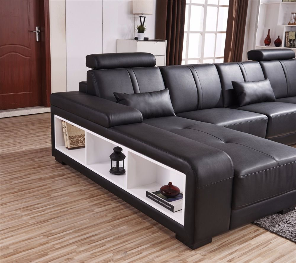 Cheap U Shaped Sofa Low Cost Modern Corner Leather Sofa: Beanbag Chaise 2016 11.11 Specail Offer Sectional Sofa