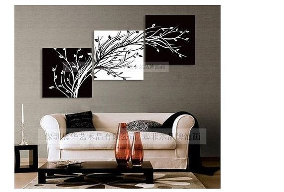 Modern Abstract Huge Wall Art Oil Painting On Canvas:black white TREES. Great look for black & white modern decor $55.99