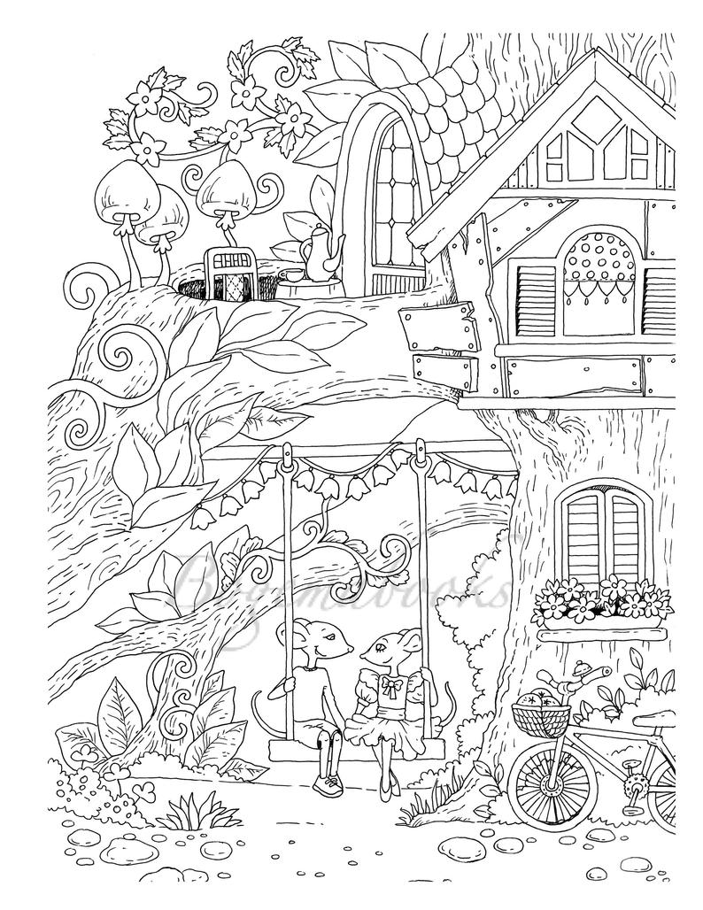 - Nice Little Town 5 (Adult Coloring Book, Coloring Pages PDF