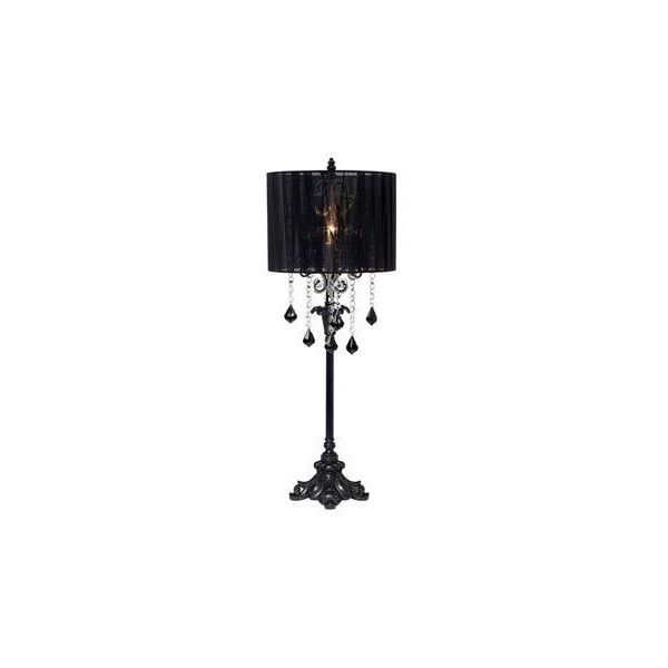 matte black chandelier drop sheer shade table lamp found on polyvore