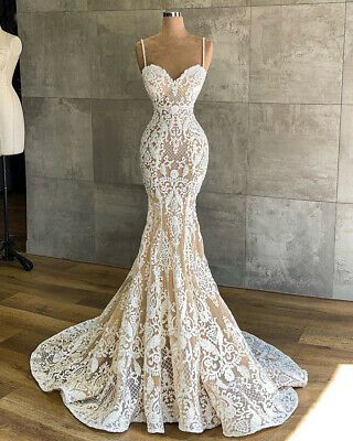 Mermaid Wedding Dresses Appliques Bridal Gowns Beaded Size 2 4 6 8 10 12 14 16++
