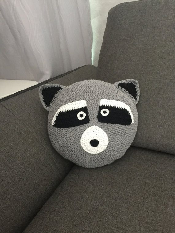 Crochet raccoon cushion / pillow Handmade round by ...