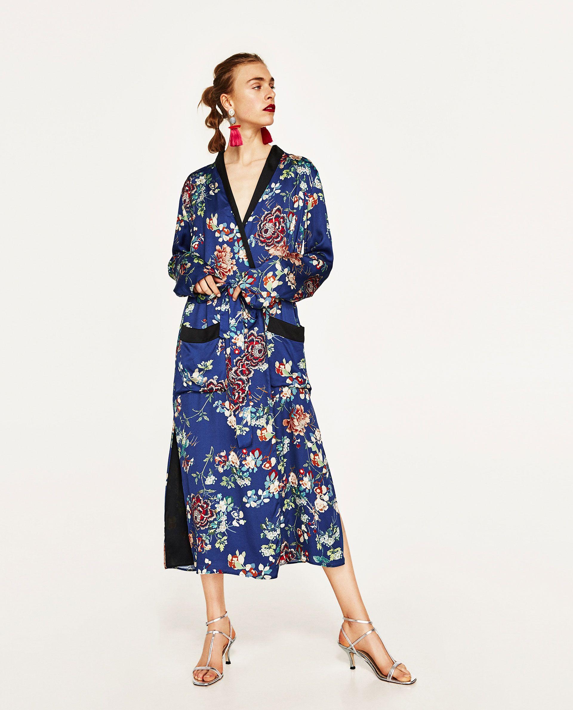 kimono largo flores zara ss 2017 kleider blumen und damen. Black Bedroom Furniture Sets. Home Design Ideas