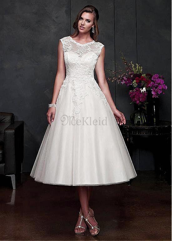 Natürliche Taille A-form Eleganta Wadenlang Brautkleid mit Kurzen ...