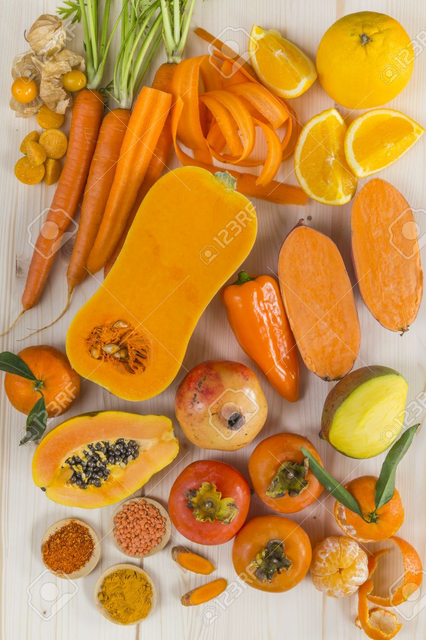 Orange Coloured Fruit And Vegetables Fruits And Vegetables Pictures Orange Colored Fruit Healthy Fruits And Vegetables