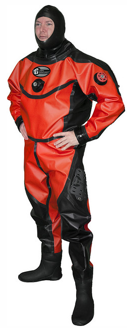 The Aqua Lung Hazmat Public Safety Drysuit is designed with the professional Public Safety diver in mind. Countless Fire Dept.'s, Sheriff's Dept.'s and rescue teams have been using the Aqua Lung Hazmat for years. This suit has been designed with this diver in mind; the most popular features & options have become standard to meet the Public Safety diver's needs. Chemical resistant polyurethane inside and out allows dual protection and easy decontamination. Photo: Whites