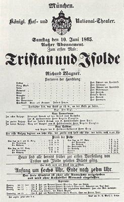 """Wagner's """"Tristan und Isolde""""(poster of the first performance in Munech, 1865"""