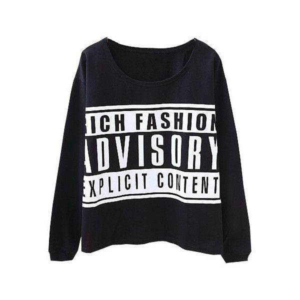 ADVISORY Print Black Sweatshirt ($25) ❤ liked on Polyvore featuring tops, hoodies, sweatshirts, shirts, sweaters, pattern shirt, print sweatshirt, print top, print shirts and patterned sweatshirt