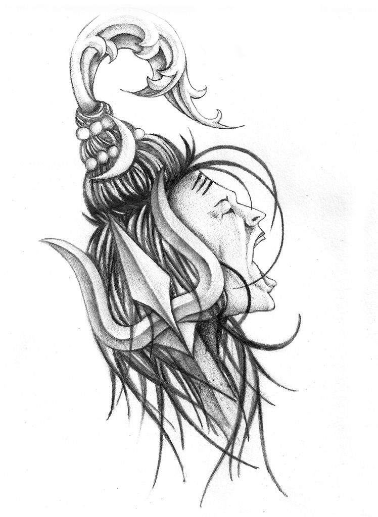 Angry Lord Shiva Pencil Sketch
