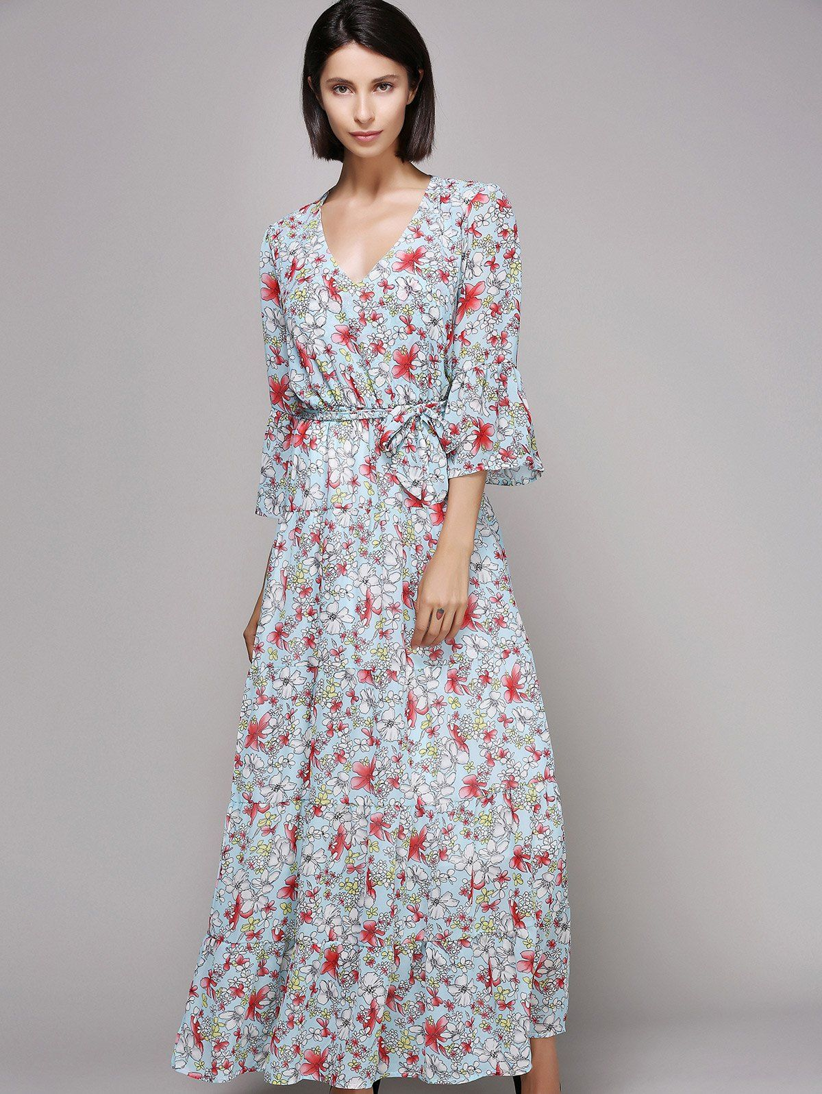 Bell sleeve maxi floral beach swing dress maxi dresses floral
