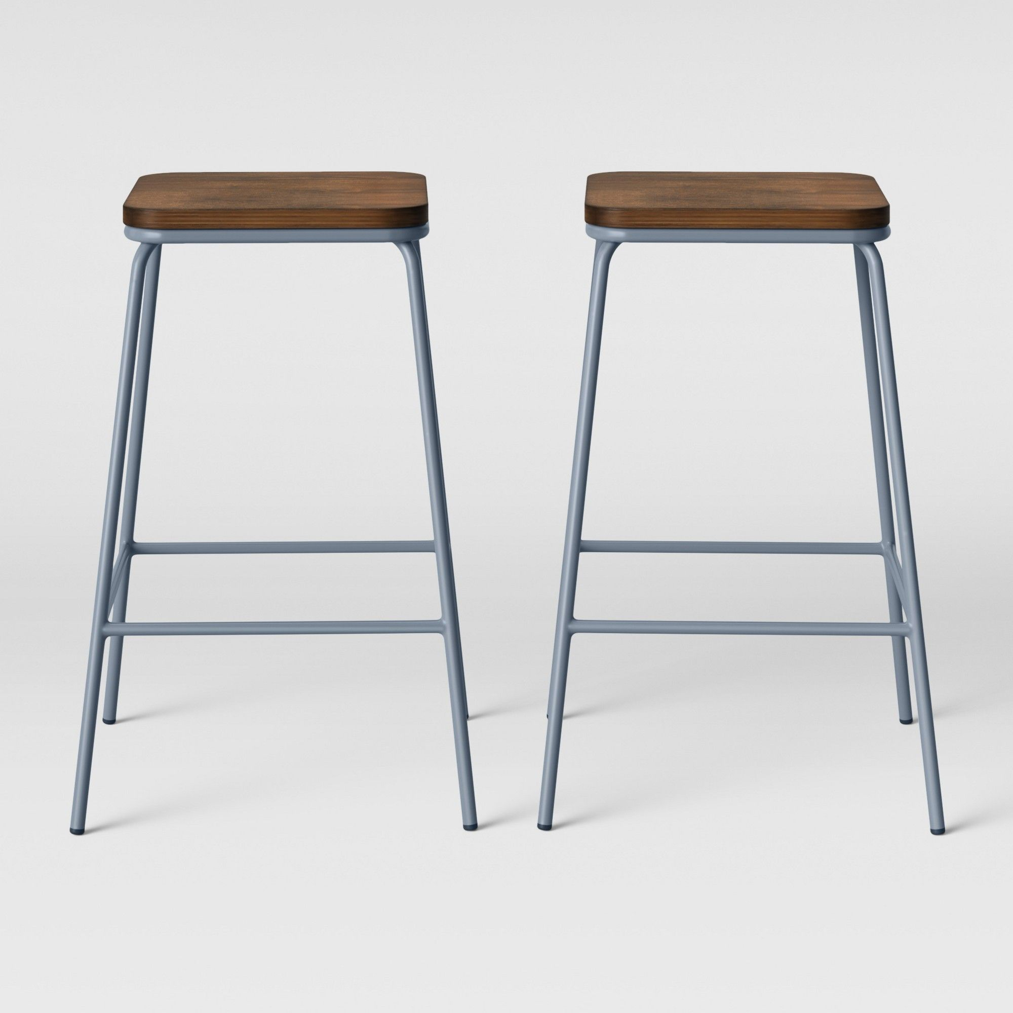 Set Of 2 Rhodes Metal Wood Counter Stool Light Blue Project 62