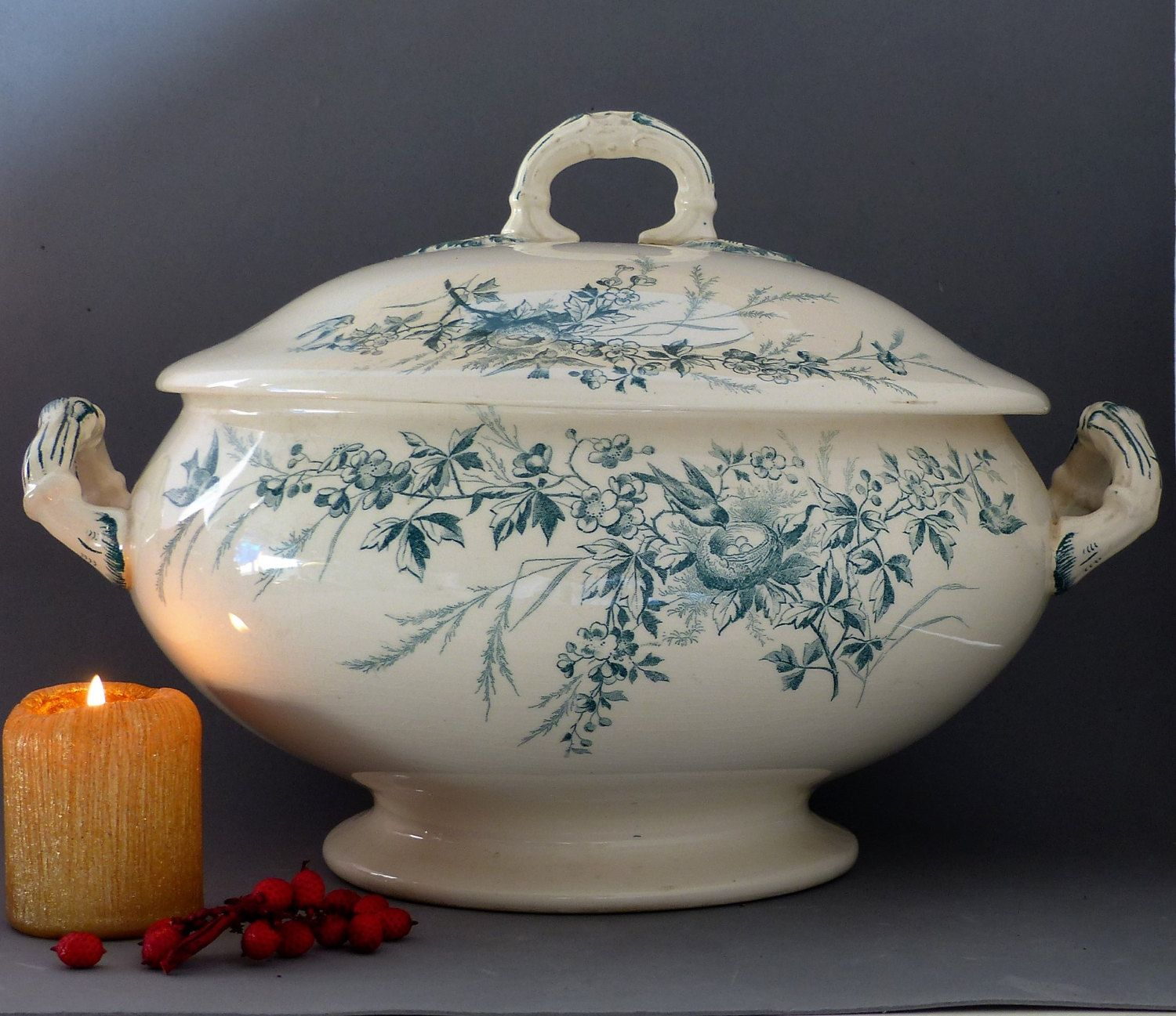 French Vintage Soup Tureen Large Vintage Soup Tureen. Green Cream Floral and Bird Design Soup Tureen. Large Soup Bowl. CHRISTMAS GIFT French by JadisInTimesPast on Etsy
