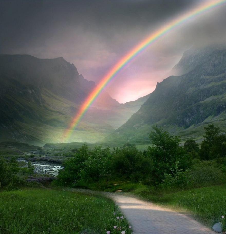 Rainbow Path Pixdaus Beautiful Nature Beautiful Rainbow Over The Rainbow