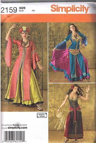 Harem Gypsy Belly Dancer Dance Ghawazee Coat Costume Pattern Sz 14 ...