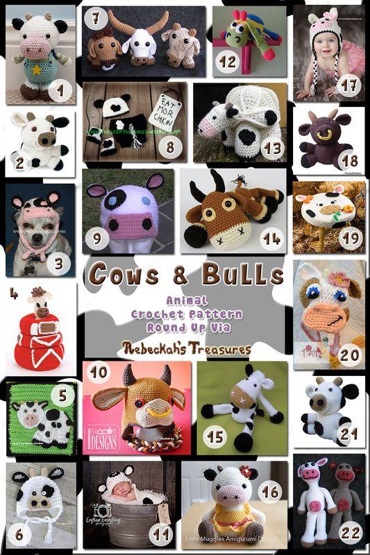 Cows & Bulls - Animal Crochet Pattern Round Up via @beckastreasures