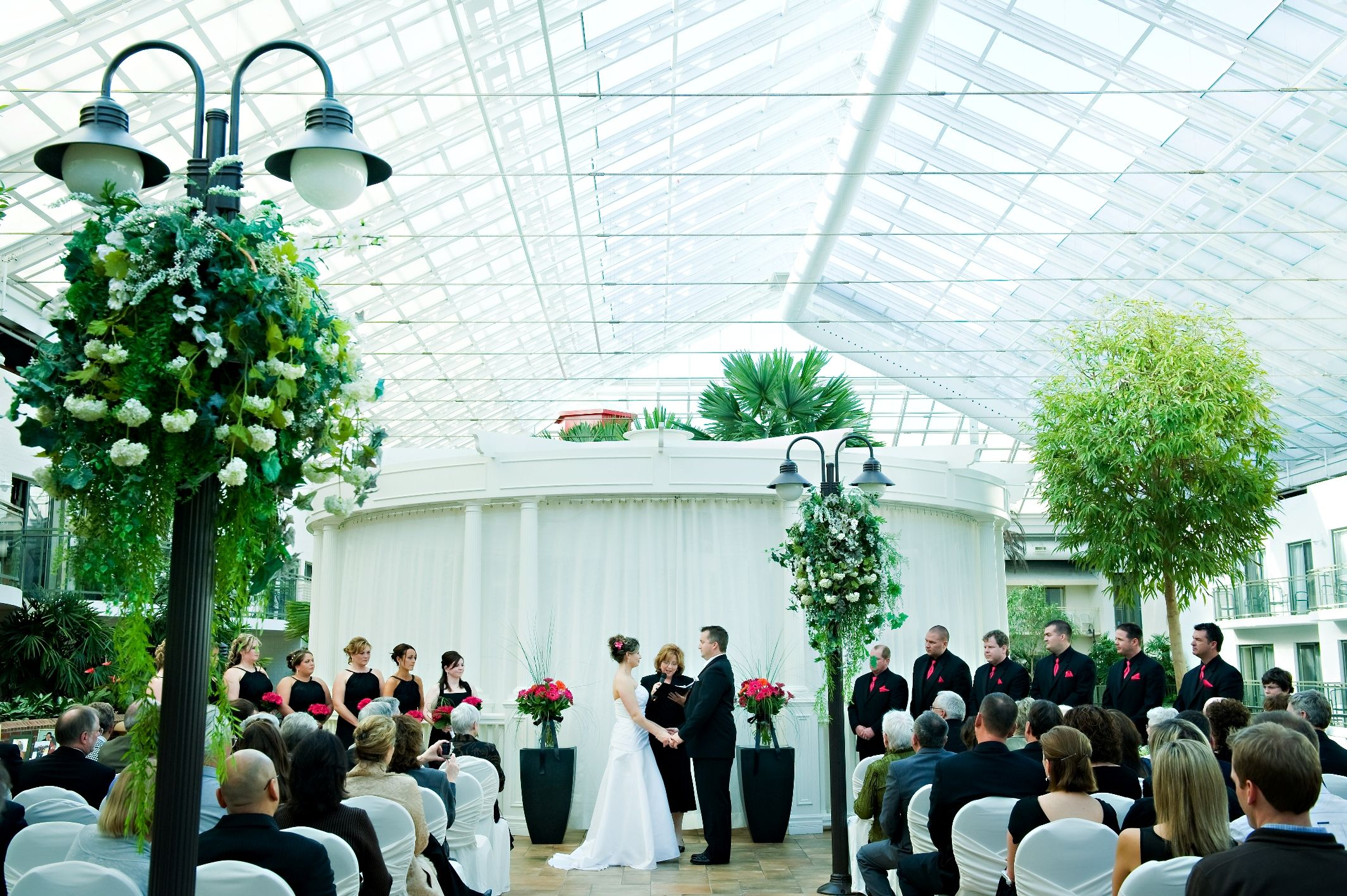 Look no further for the perfect wedding spot.  Our Atrium features palm trees and an array of tropical foliage that is warm year round
