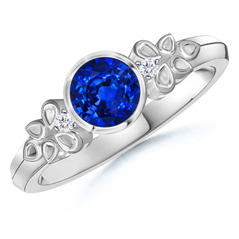 Angara Prong Set Round Sapphire Curved Shank Twisted Ring in Platinum SyadArs