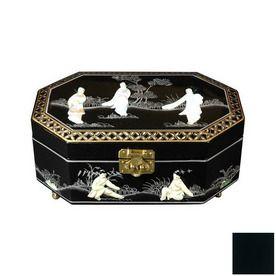 Oriental Furniture Violetta Black Tabletop Jewelry Armoire Lcq325