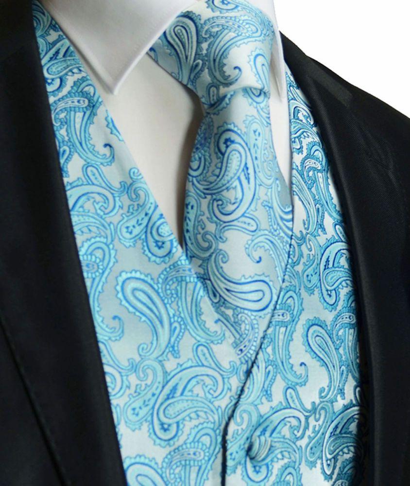 Turquoise Blue Paisley Tuxedo Suit Dress Vest Waistcoat & Neck tie ...