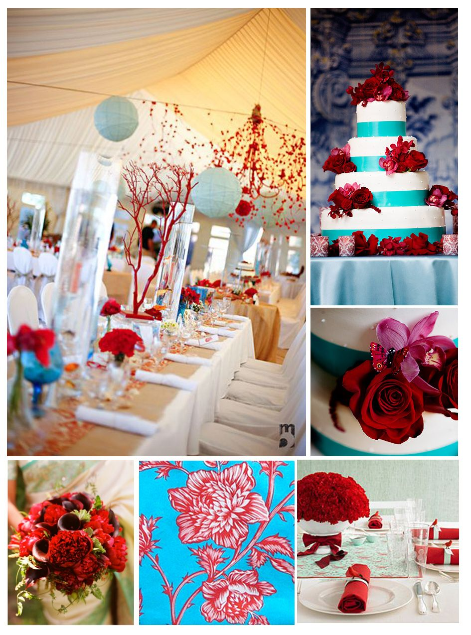 Wedding decorations red  Red and turquoise wedding decor  World of Colour  Pinterest