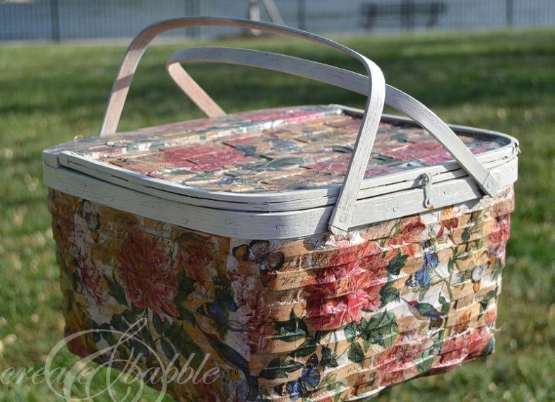Decoupaged Picnic Basket Basket, Dollar store bins
