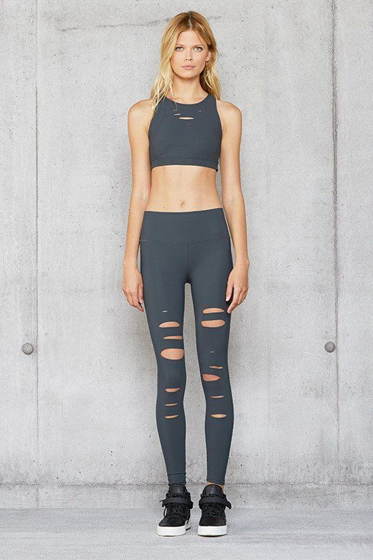 6bdc838903 Alo Yoga High Waist Ripped Warrior Legging - Anthracite | Clothes ...