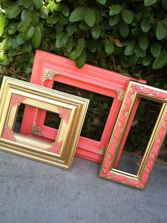 Coral Frames, Set of 3, Coral and Gold frames, Vintage frames, Wide ...
