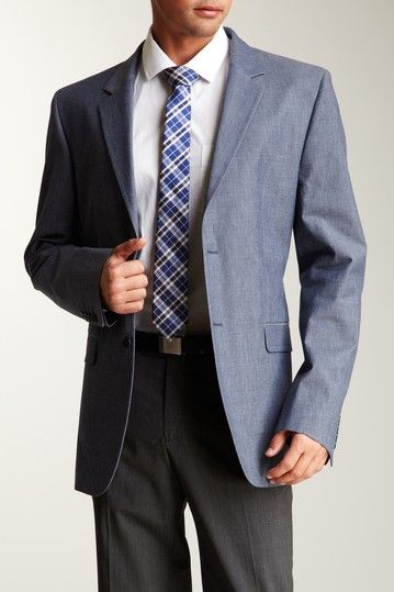 Calvin Klein  Bowery Two Button Blue Chambray Jacket