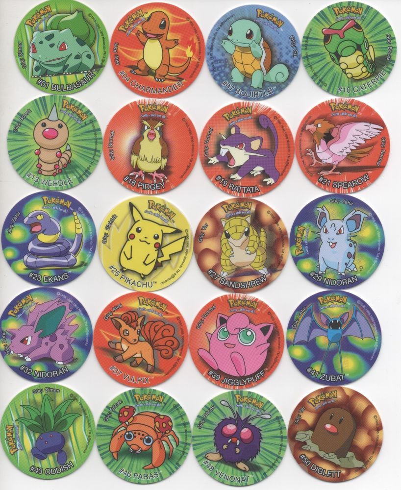 Details About 43 Tazos Pogs Pokemon No Complete Set Of 51 First