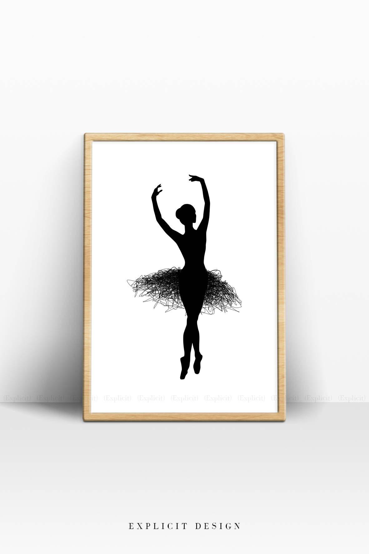 photo relating to Ballerina Silhouette Printable called Ballet Silhouette Print, Sophisticated Ballerina Prints, Black