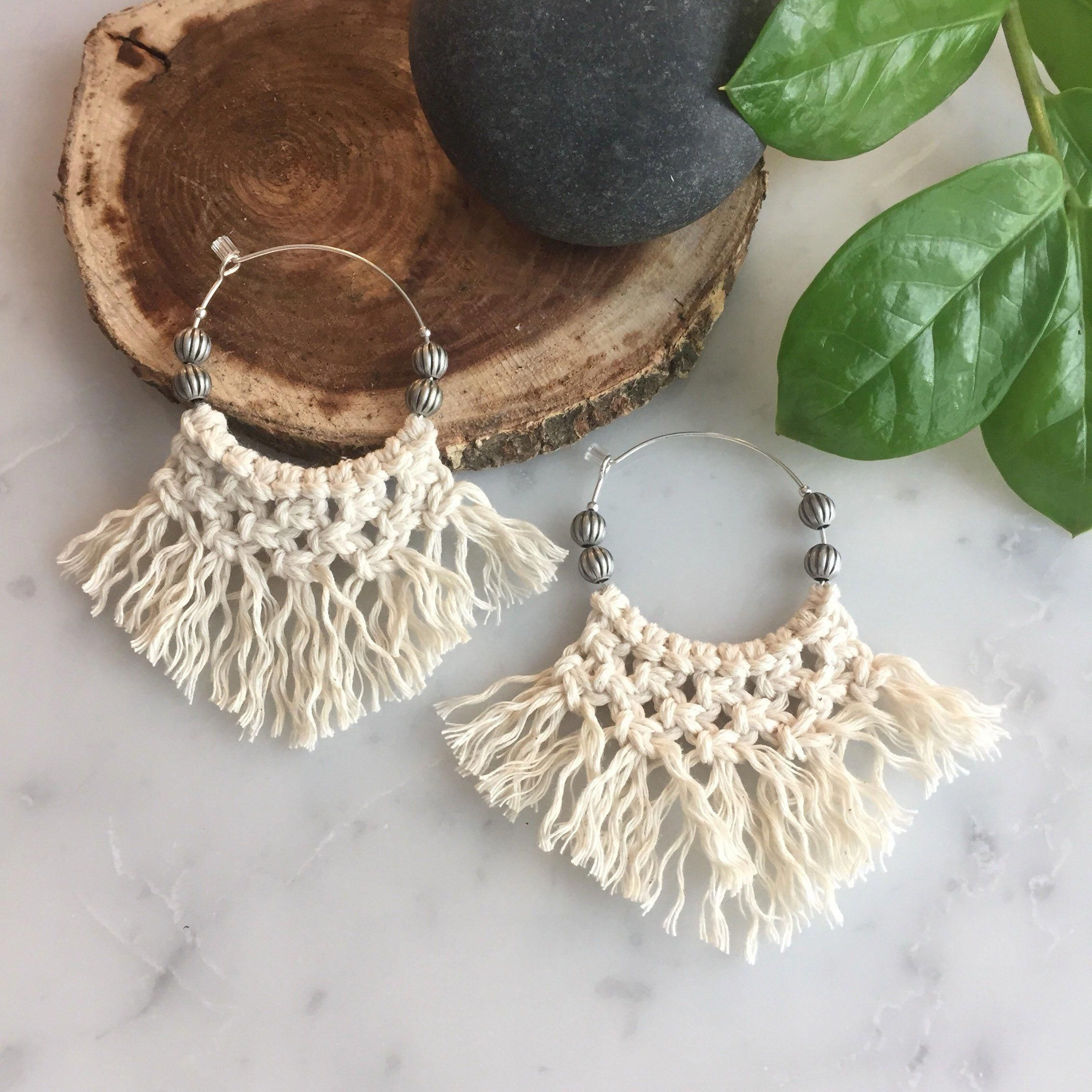 Excited to share this item from my #etsy shop: Macrame earrings - Macrame Hoop Earrings - Extremely lightweight - Unique - can be used as diffuser jewelry #hoopearrings