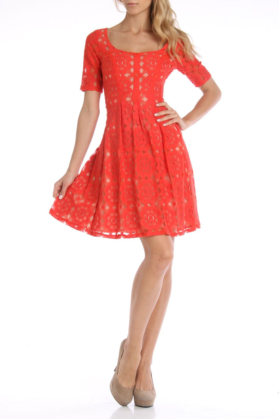 Nine West Floral Stamp Lace Flared Dress in Tangerine