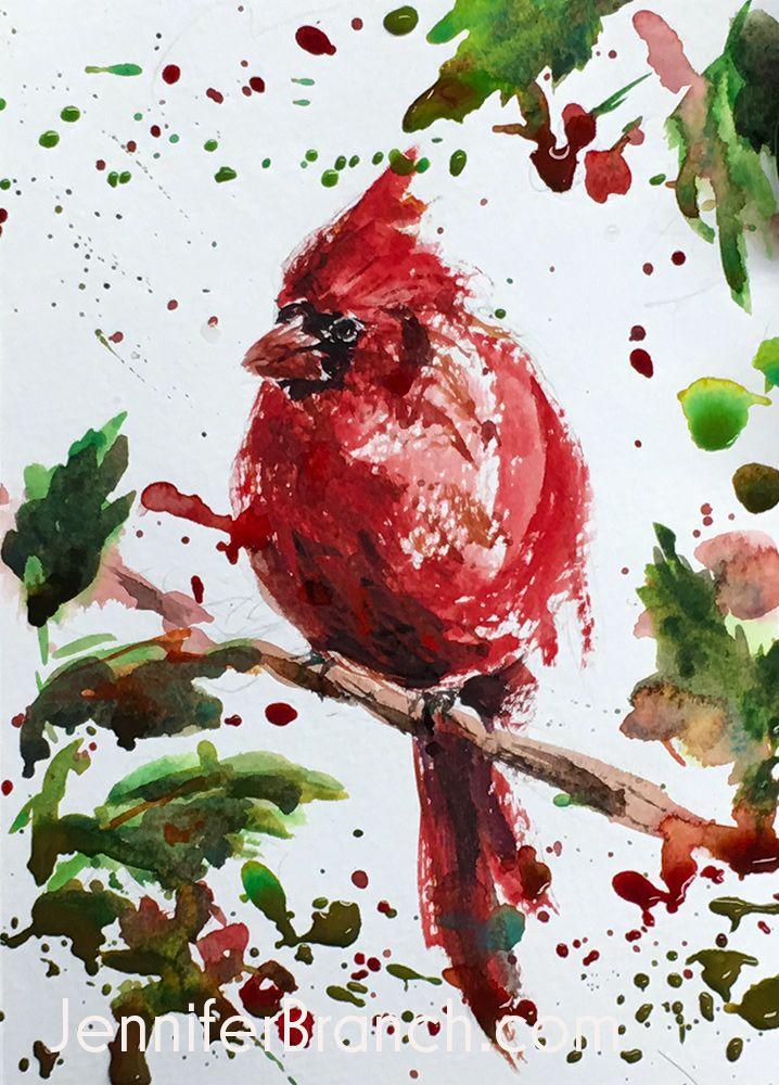 Cardinal Christmas Card By Jennifer Branch Christmas Watercolor