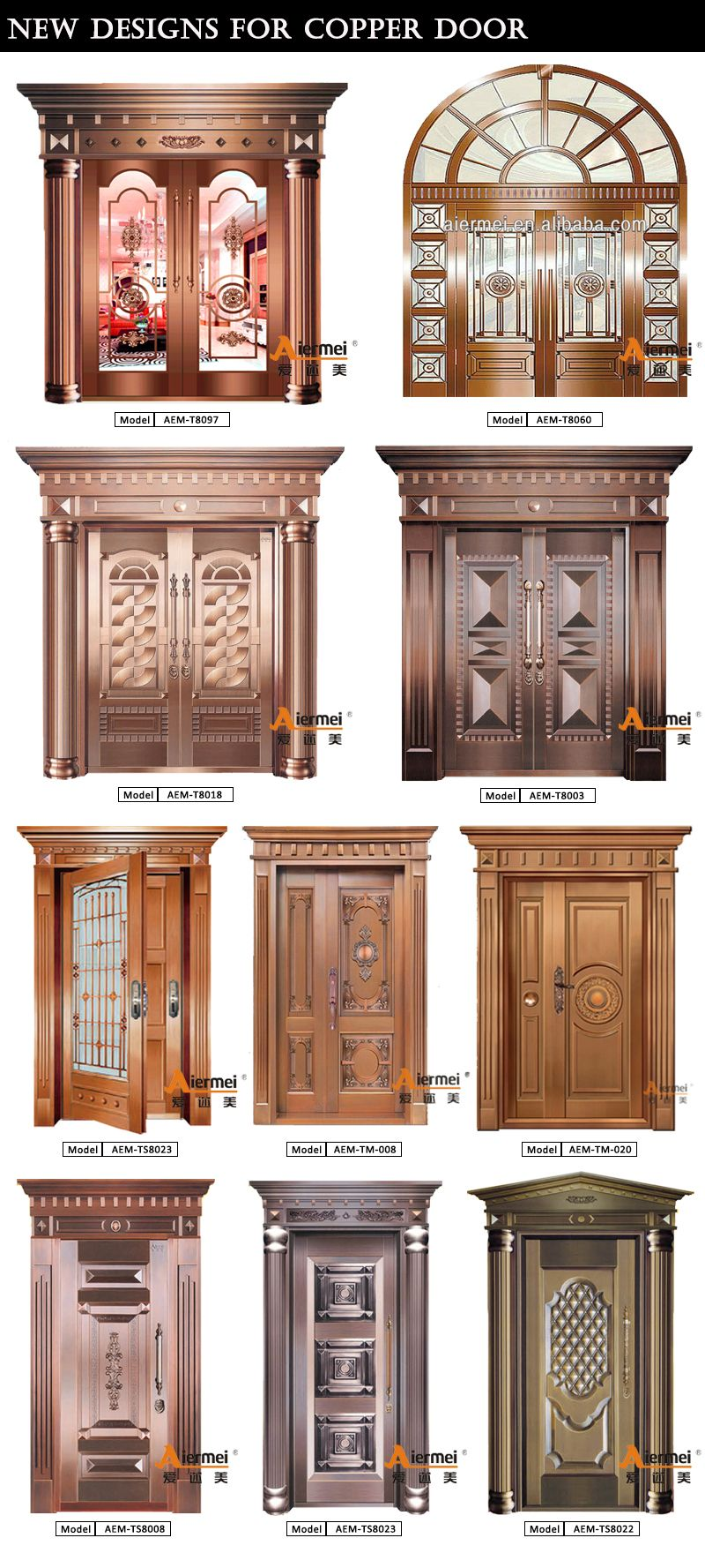 Villa main door solid wood security villa double leaf door design - Modern House Front Door Design Double Tempered Glass Pure Copper Door Villa Entry Exterior Door