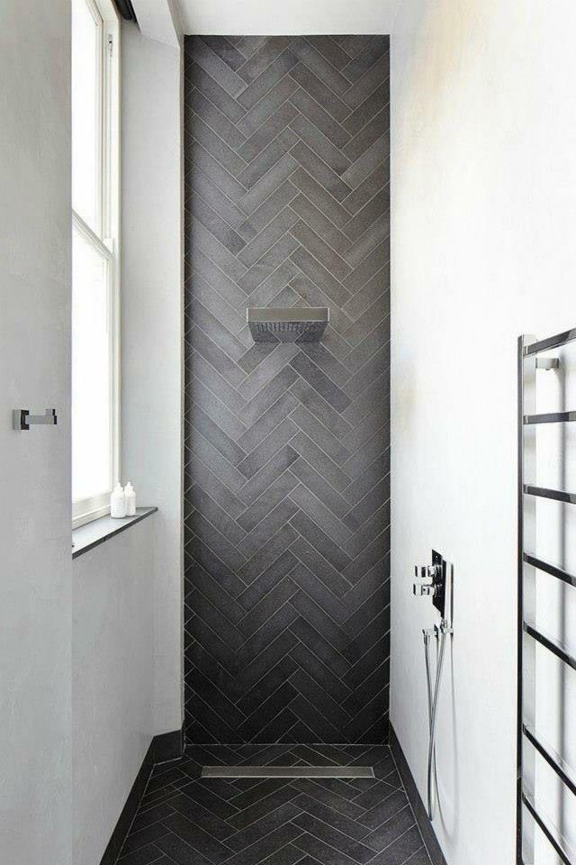 Herringbone tiles floor to ceiling in shower recess | Bathroom ...