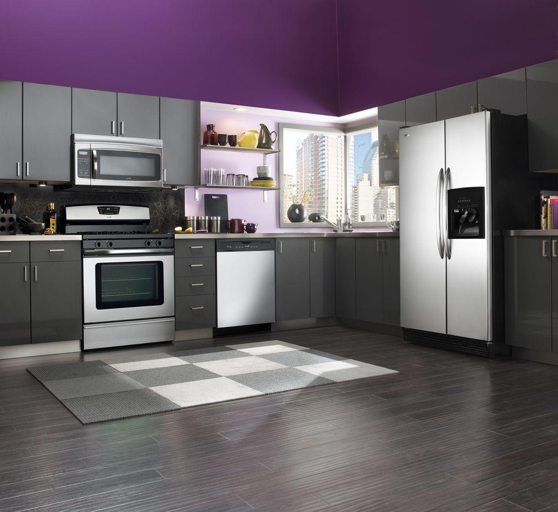 Purple Kitchen Walls, Grey Kitchen Floor