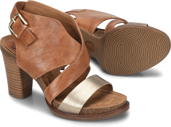 fa5c33686b95 CHRISTINE in Luggage-Gold. A city-chic sandal with a metallic accent strap