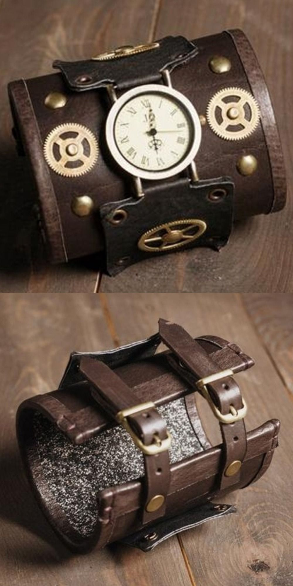 Steampunk leather wrist watch, Leather bracelet, Steampunk wrist watch, Steampunk wristband, Cuff F