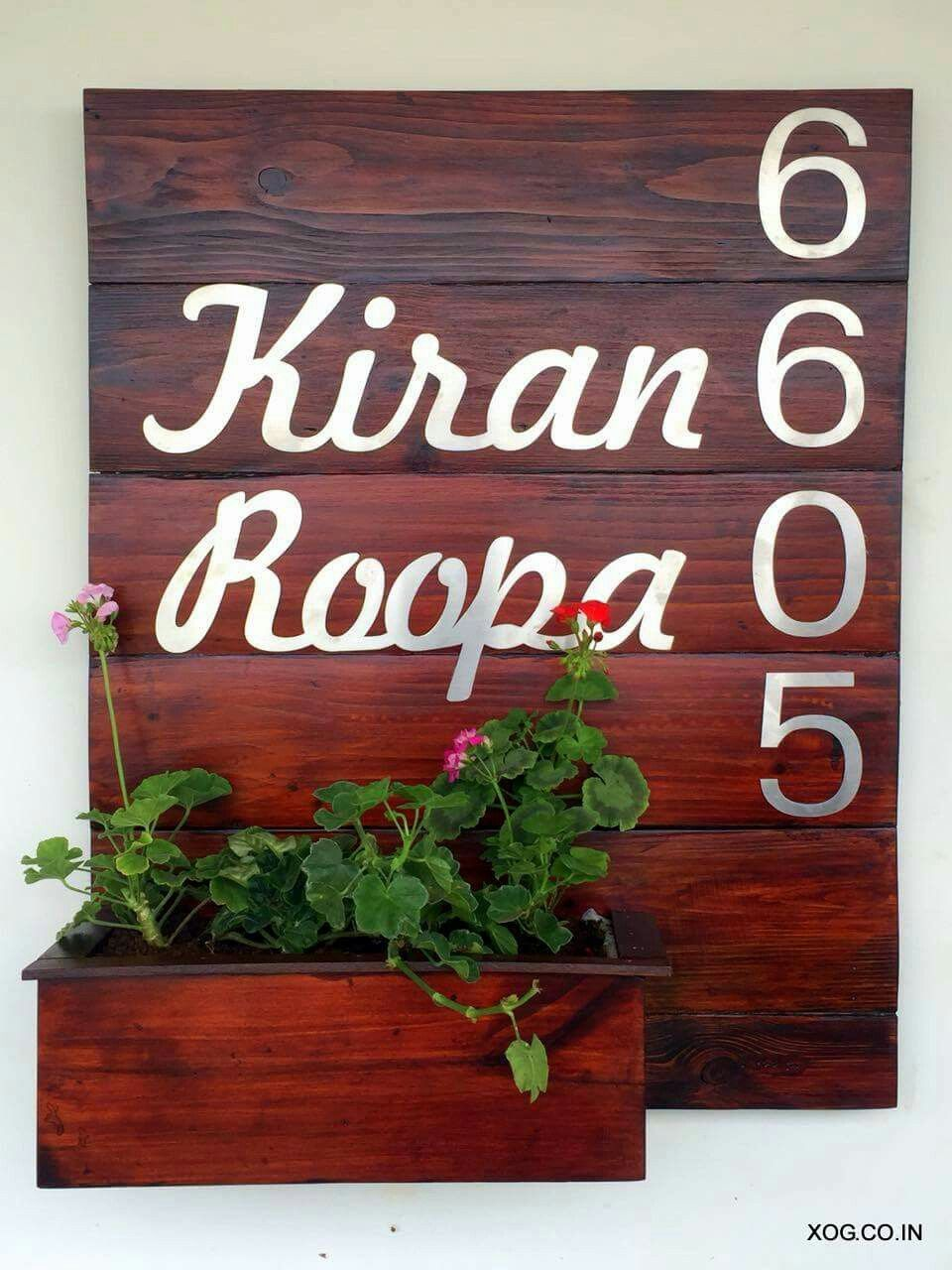 Name Plate Planters By Xanadu Organic Gardens These Living Name Plates Are Sure To Warm Up The Entrance Name Plates For Home Name Plate Design Name Wall Decor