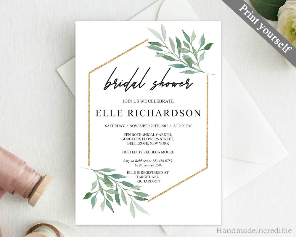 Eucalyptus And Gold Bridal Shower Invitation Template Printable Flor Floral Bridal Shower Invitations Bridal Shower Invitations Gold Bridal Shower Invitations