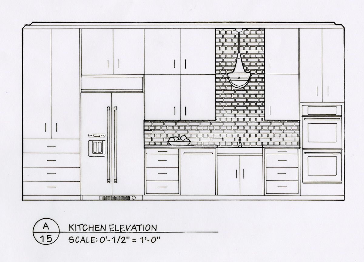 Elevation And Plan In Engineering Drawing : Detailed elevation drawings kitchen bath bedroom on