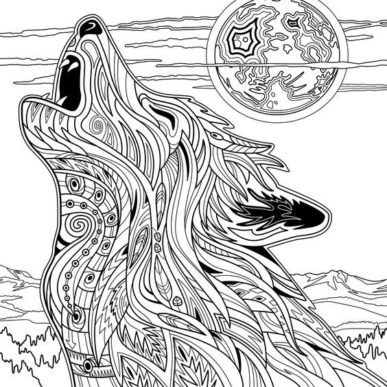 Coloriage Mandala Animaux Loup.Yellowstone National Park Adult Coloring Book Dave Ember Don