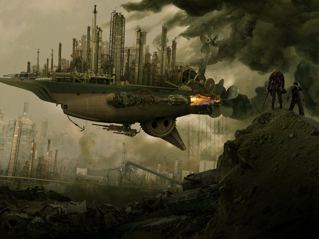 steampunk city airship