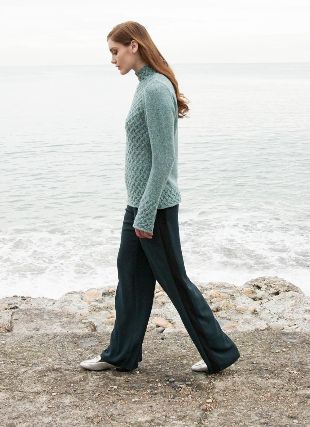Wool Cashmere Trellis Sweater: This flattering raised crew-neck sweater is a versatile classic from the Ireland's Eye Knitwear Collection. A soft, luxurious combination of wool andcashmere is paired with an effortlessly elegant trelllis stitch design. #sweater #jumper #aran #aransweater #aranjumper #cableknit #cableknitsweater #knitwear #wool #fisherman #irish #ireland #celtic #rustic #womenswear #fashion #style #aw17 #fashionknit #fallfashion2017 #mint #green