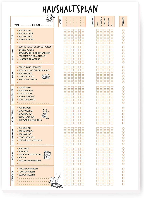 Haushaltsplan I im DIN A4 Format mit 50 Blatt - Für eine Familie oder WG mit bis zu 6 Personen - Haushaltsplaner mit Putzkalender - to do Liste Wochenplaner - von Sophies Kartenwelt