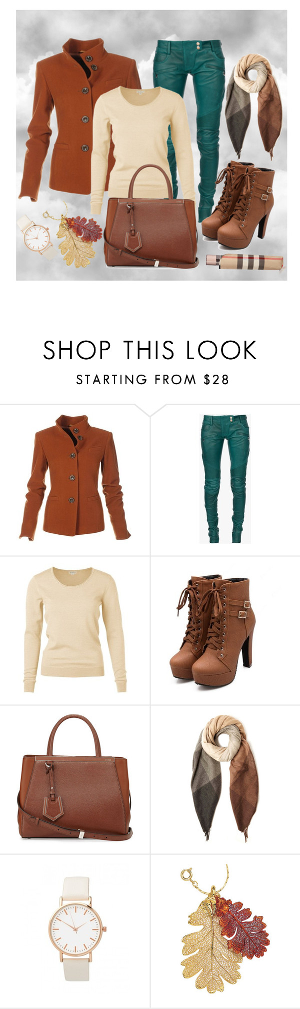 """""""November"""" by ina-kis ❤ liked on Polyvore featuring Balmain, Fendi, Paul Smith, Natures Jewelry, Burberry, GREEN, grey, brown, beige and falloutfit"""