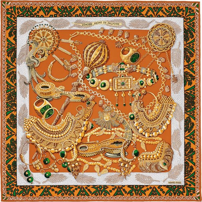 Hermes silk twill scarf, hand rolled, 36