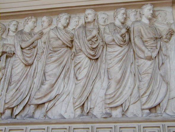 ARA PACIS.  Procession of senators to the altar to be present at the sacrifice.