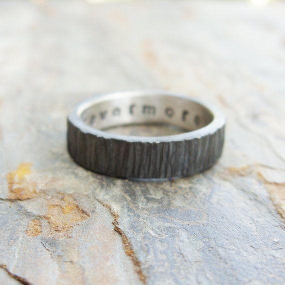 Rugged Blackened Tree Bark Wedding Band For Men Or Women