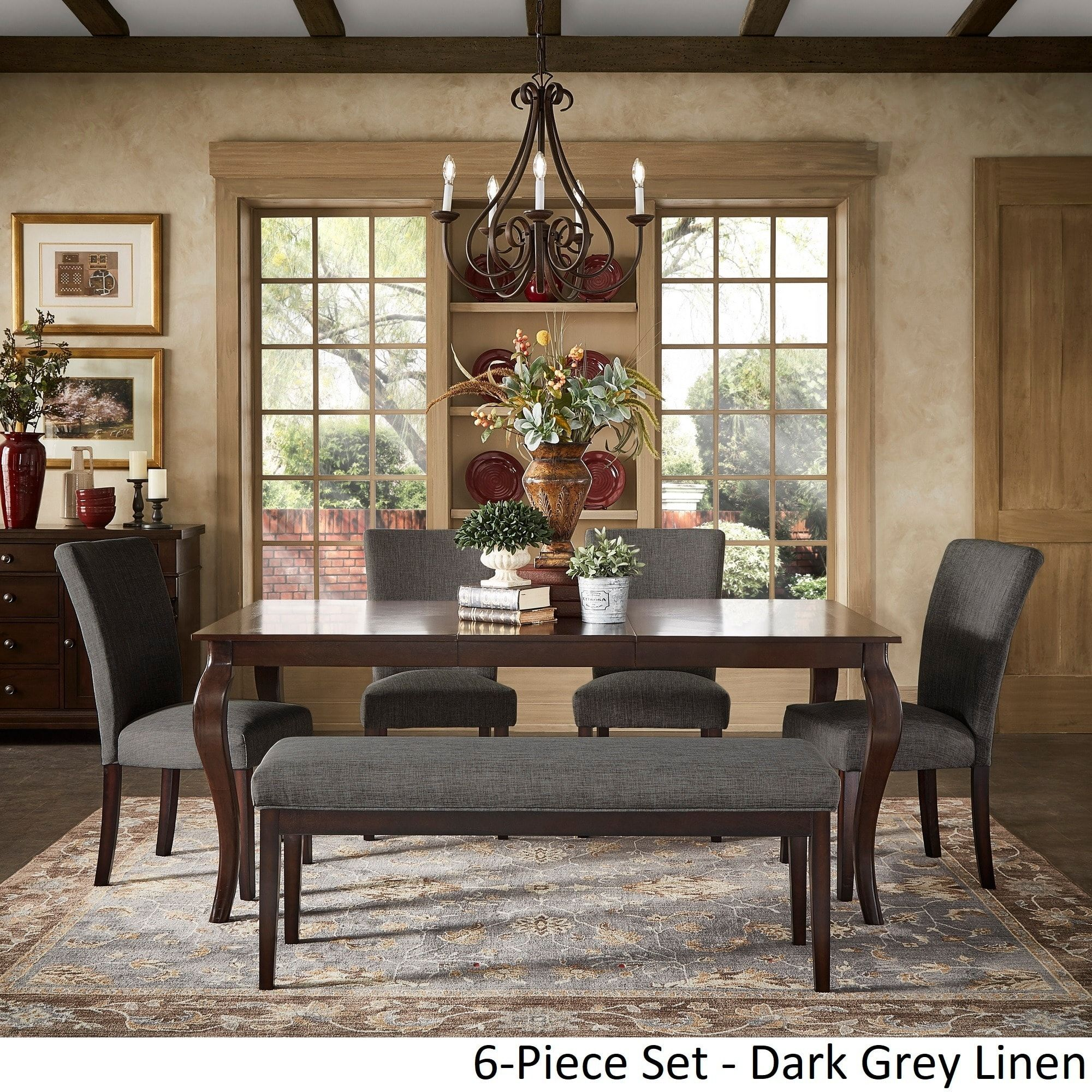 Pranzo rectangular 72 inch extending dining table and set with cabriole legs by inspire q classic 6pc set dark grey linen w 4 chairs 1 bench